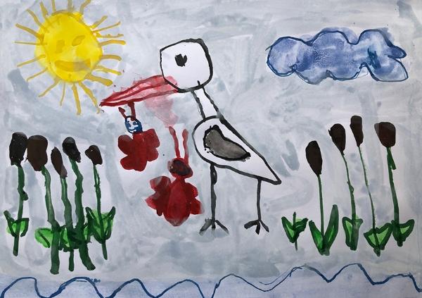 Děti malovaly čápy! Přijďte se podívat na obrázky